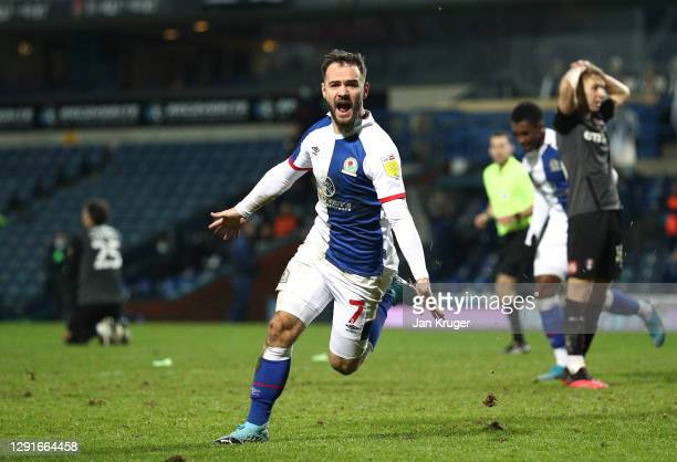 Adam Armstrong of Blackburn Rovers celebrates scoring the winning goal during the Sky Bet Championship match between Blackburn Rovers and Rotherham...