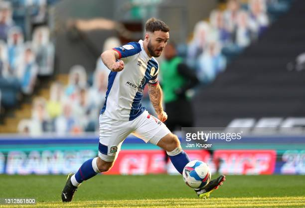 Adam Armstrong of Blackburn Rovers controls the ball during the Sky Bet Championship match between Blackburn Rovers and Derby County at Ewood Park on...