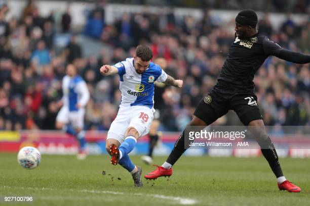 Adam Armstrong of Blackburn Rovers scores a goal to make it 1-0 during the Sky Bet League One match between Blackburn Rovers and Wigan Athletic at...