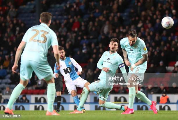 Adam Armstrong of Blackburn Rovers scores his side's first goal during the Sky Bet Championship match between Blackburn Rovers and Queens Park...