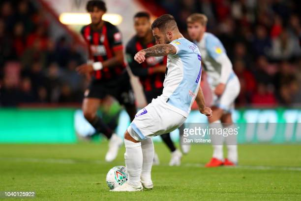 Adam Armstrong of Blackburn Rovers scores his team's second goal from the penalty spot during the Carabao Cup Third Round match between AFC...