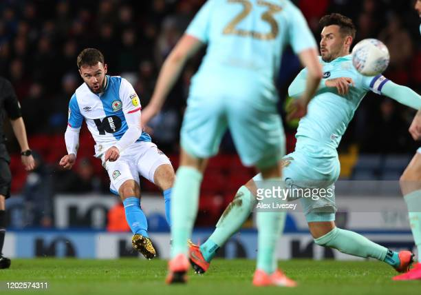 Adam Armstrong of Blackburn Rovers scores the opening goal during the Sky Bet Championship match between Blackburn Rovers and Queens Park Rangers at...