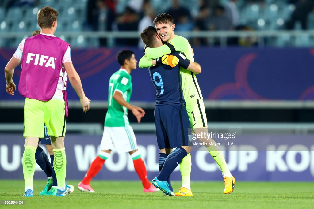 Adam Armstrong of England and Freddie Woodman celebrate their teams 1-0 win over Mexico in the FIFA U-20 World Cup Korea Republic 2017 Quarter Final match at Cheonan Baekseok Stadium on June 5, 2017 in Cheonan, South Korea.