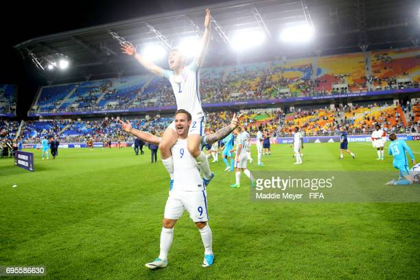 Adam Armstrong of England and Jonjoe Kenny celebrate after defeating Venezuela 10 in the FIFA U20 World Cup Korea Republic 2017 Final at Suwon World...