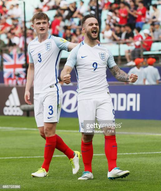 Adam Armstrong of England celebrates after scoring their second goal during the FIFA U20 World Cup Korea Republic 2017 group A match between...