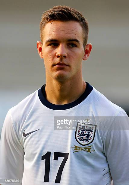 Adam Armstrong of England lines up before the International Friendly match between England U17 and Turkey U17 at the Pirelli Stadium on August 30...