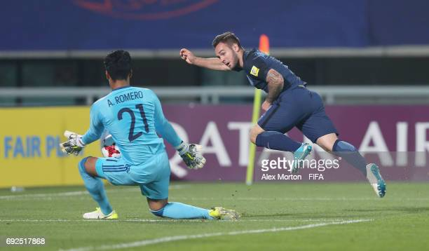 Adam Armstrong of England shoots at goal during the FIFA U20 World Cup Korea Republic 2017 Quarter Final match between Mexico and England at Cheonan...