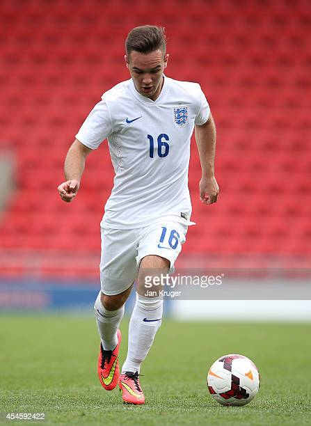 Adam Armstrong of England U18 in action during the U18 International Friendly match between England U18 and Netherlands U18 at Leigh Sports Village...