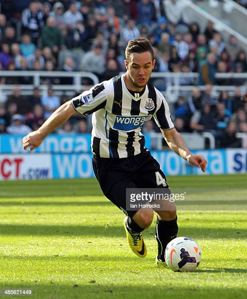 Adam Armstrong of Newcastle during the Barclays Premier League match between Newcastle United and Swansea City at St James' Park on April 19 2014 in...