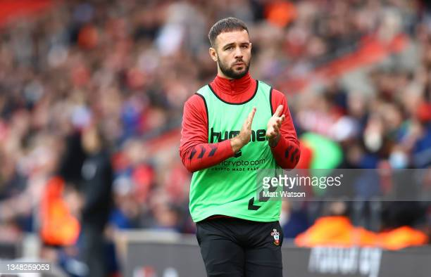 Adam Armstrong of Southampton during the Premier League match between Southampton and Burnley at St Mary's Stadium on October 23, 2021 in...