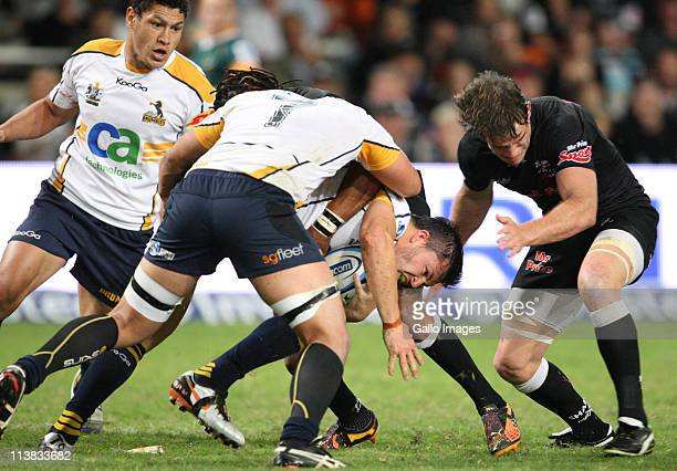 Adam AshleyCooper driving forward during the Vodacom Super Rugby match between the Sharks and Brumbies from Mr Price Kings Park on May 07 2011 in...