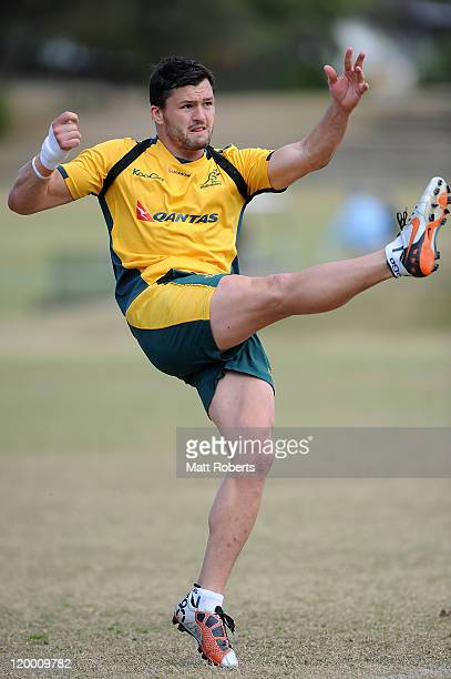 Adam AshleyCooper during an Australian Wallabies training session at The Southport School on July 29 2011 in Gold Coast Australia