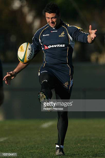 Adam AshleyCooper kicks the ball during a Wallabies training session at Xavier College on July 27 2010 in Melbourne Australia