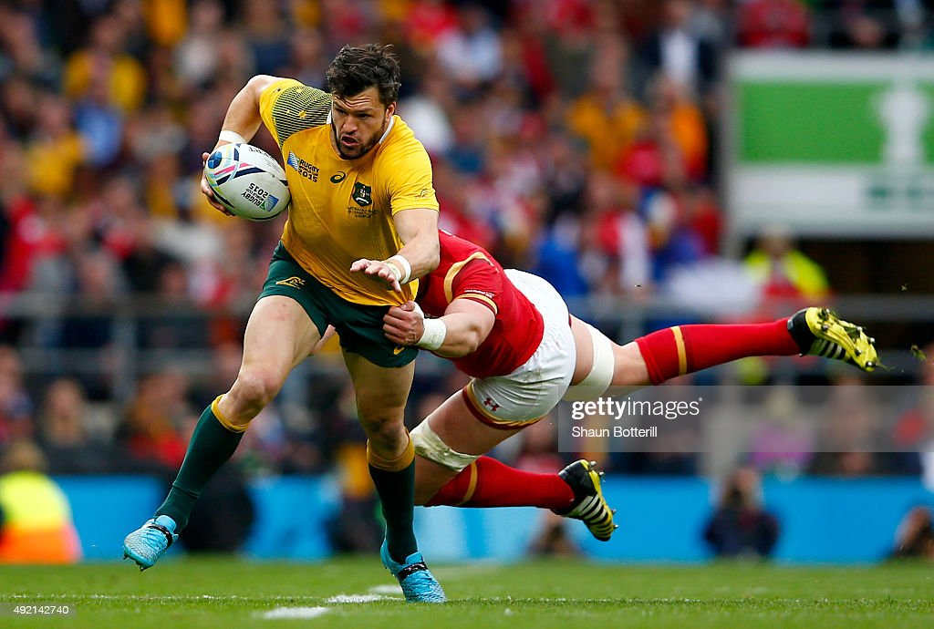 Adam Ashley-Cooper of Australia breaks away from Alun Wyn Jones of Wales during the 2015 Rugby World Cup Pool A match between Australia and Wales at Twickenham Stadium on October 10, 2015 in London, United Kingdom.