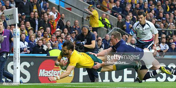 Adam AshleyCooper of Australia dives over the line and scores a try which was disallowed after TMO review during the 2015 Rugby World Cup...