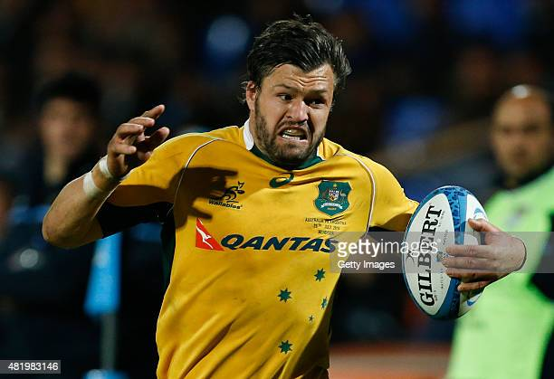 Adam AshleyCooper of Australia drives the ball during a match between Australia and Argentina as part of The Rugby Championship 2015 at Estadio...