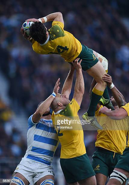 Adam AshleyCooper of Australia is lifted up to catch the ball during the Rugby World Cup 2015 SemiFinal match between Argentina and Australia at...