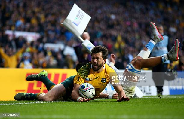 Adam AshleyCooper of Australia scores his sides second try during the 2015 Rugby World Cup Semi Final match between Argentina and Australia at...