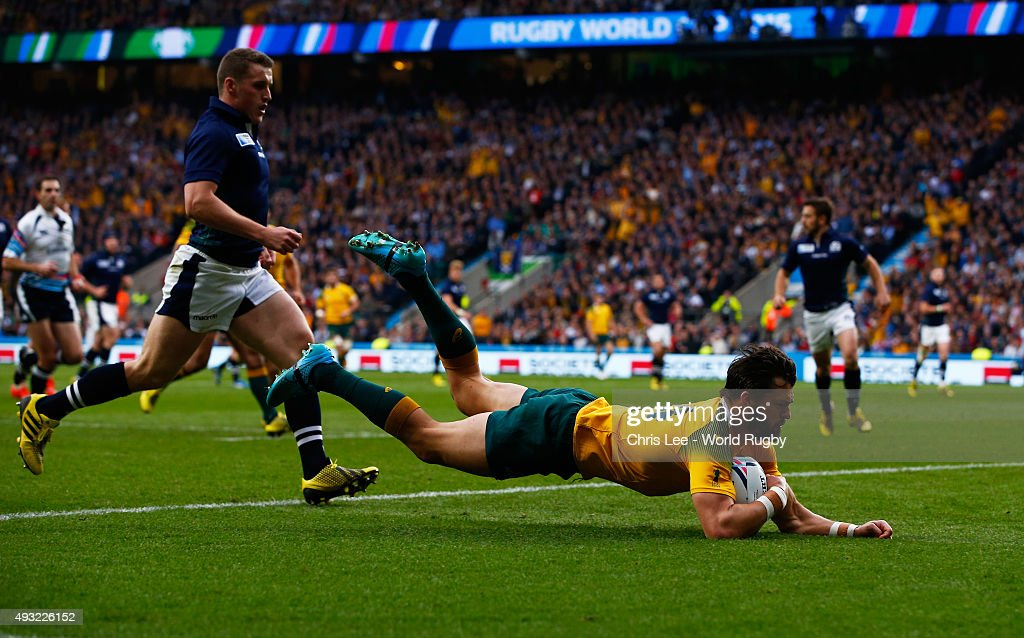 Adam Ashley-Cooper of Australia scores his teams opening try during the 2015 Rugby World Cup Quarter Final match between Australia and Scotland at Twickenham Stadium on October 18, 2015 in London, United Kingdom.