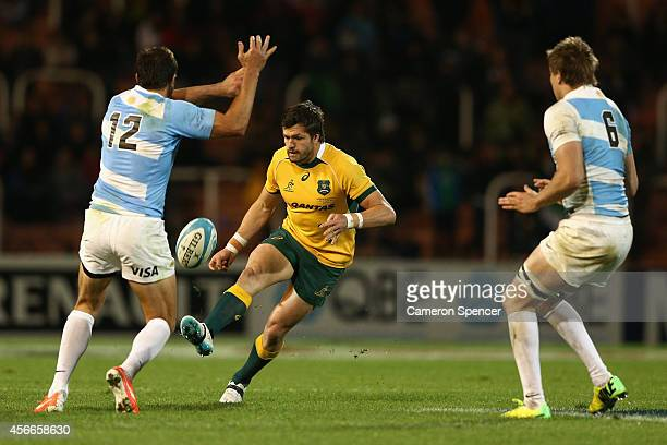 Adam AshleyCooper of the Wallabies chips ahead during The Rugby Championship match between Argentina and the Australian Wallabies at Estadio Malvinas...