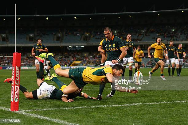Adam AshleyCooper of the Wallabies loses the ball as he attempts to score a try during The Rugby Championship match between the Australian Wallabies...