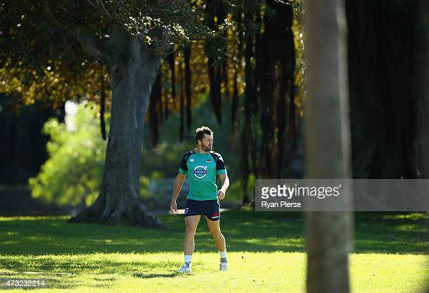 Adam Ashley-Cooper of the Waratahs arrives at training during a Waratahs Super Rugby training session at Moore Park on May 14, 2015 in Sydney,...