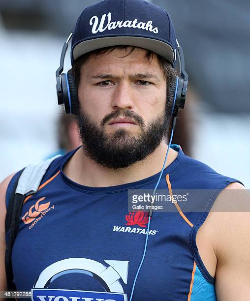 Adam AshleyCooper of the Waratahs during the Super Rugby match between Cell C Sharks and Waratahs at Growthpoint Kings Park on March 29 2014 in...