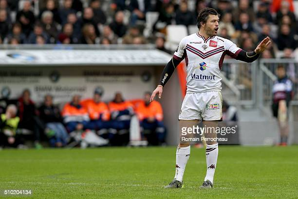 Adam AshleyCooper of Union Bordeaux Begles gestures during the Top 14 rugby match between Union Bordeaux Begles and RC Toulon at Stade Matmut...