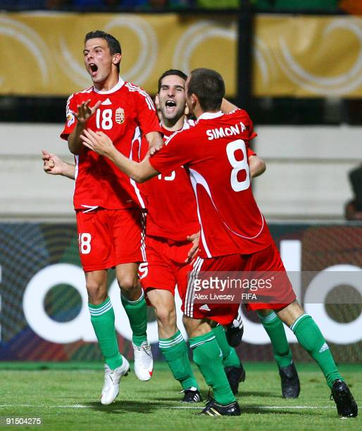 Adam Balajti of Hungary celebrates with team mates after scoring the winning penalty during a penalty shoot out in the FIFA U20 World Cup Round of...