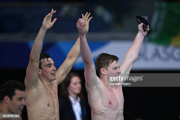 Adam Barrett and Adam Peaty of England celebrate winning the gold medal in the Men's 4 x 100m Medley Relay Final at Tollcross International Swimming...