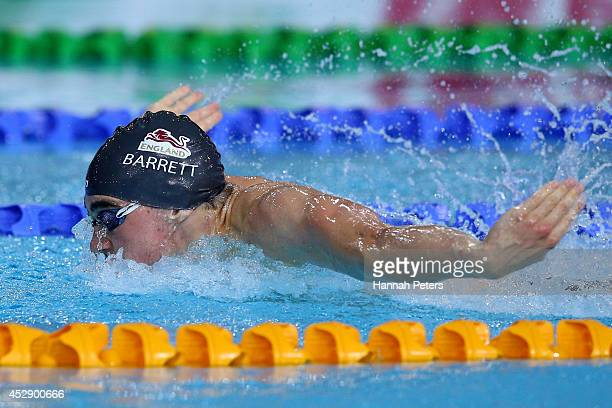 Adam Barrett of England competes on the way to winning the gold medal in the Men's 4 x 100m Medley Relay Final at Tollcross International Swimming...