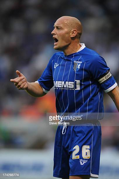Adam Barrett of Gillingham during the pre season friendly match between Gillingham and Crystal Palace at Priestfield Stadium on July 23 2013 in...