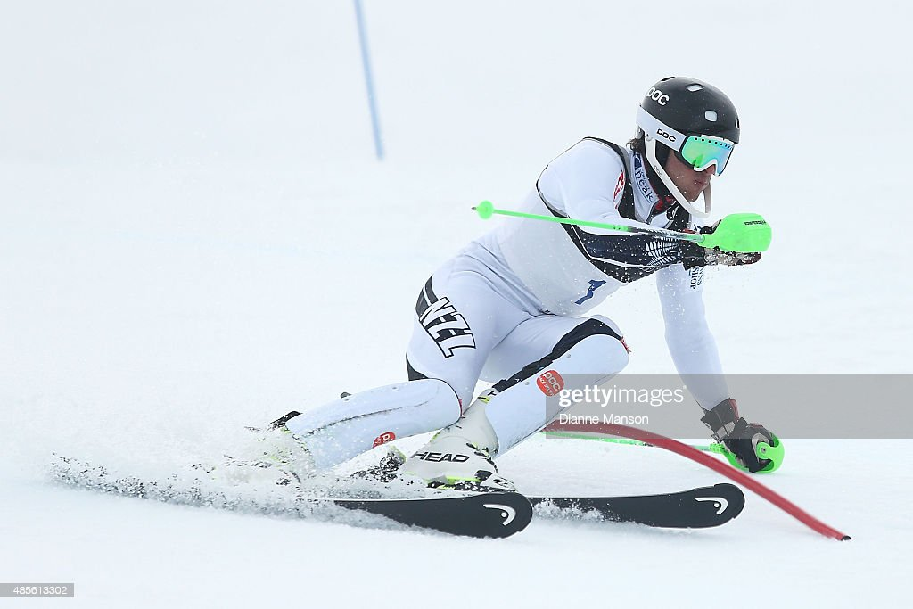 Adam Barwood of New Zealand competes in the Alpine Slalom - FIS Australia New Zealand Cup during the Winter Games NZ at Coronet Peak on August 29, 2015 in Queenstown, New Zealand.