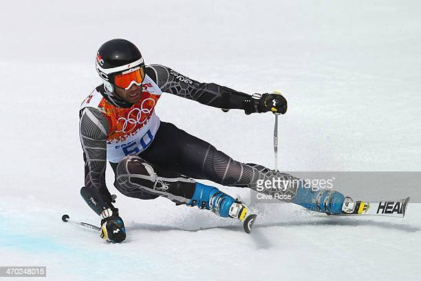 Adam Barwood of New Zealand in action during the Alpine Skiing Men's Giant Slalom on day 12 of the Sochi 2014 Winter Olympics at Rosa Khutor Alpine...