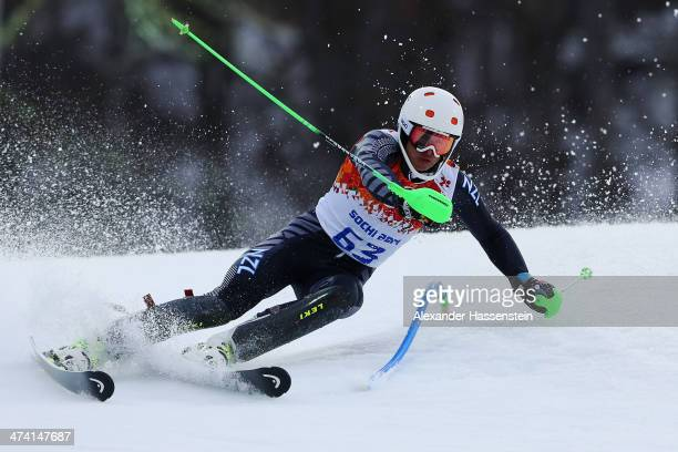 Adam Barwood of New Zealand in action during the Men's Slalom during day 15 of the Sochi 2014 Winter Olympics at Rosa Khutor Alpine Center on...