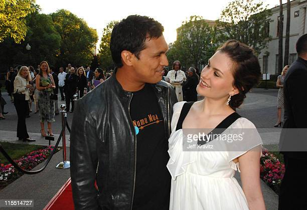 Adam Beach and Anna Paquin during 'Bury My Heart at Wounded Knee' Los Angeles Premiere Red Carpet at Paramount Theater Paramount Pictures Studio in...