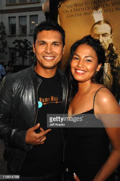 Adam Beach and Holly Bird during 'Bury My Heart at Wounded Knee' Los Angeles Premiere Red Carpet at Paramount Theater Paramount Pictures Studio in...