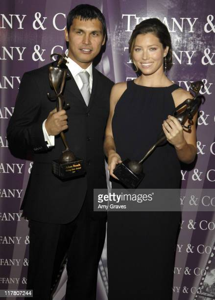 Adam Beach and Jessica Biel during 18th International Palm Springs Film Festival Awards Gala Backstage at Palm Springs Convention Center in Palm...