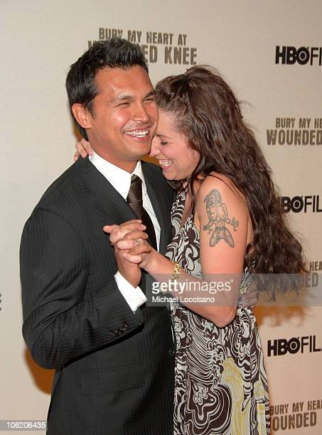 Adam Beach and Tara Beach during The World Premiere of HBO Film's 'Bury My Heart at Wounded Knee' Arrivals at American Museum of Natural History in...