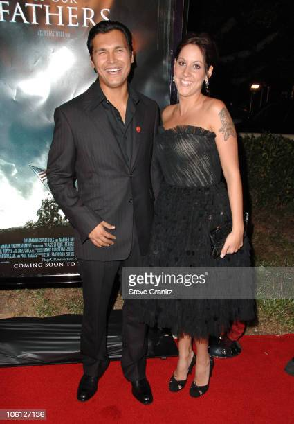 Adam Beach and Tara Mason during 'Flags of Our Fathers' Los Angeles Premiere Arrivals at Academy Theatre in Beverly Hills California United States