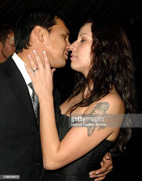 Adam Beach and Tara Mason during In Style and Warner Bros 2007 Golden Globe After Party Inside at Beverly Hilton Hotel in Beverly Hills California...