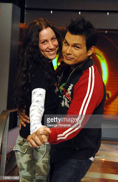 Adam Beach and Tara MasonBeach during Adam Beach Visits ET Canada Studios in Toronto at Global Studios in Don Mills Ontario Canada