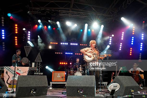 Adam Beach, David Beauchamp, Matt Edmonds, Johnny Flynn and Joe Zeitlin of Johnny Flynn & the Sussex Wit perform on stage during the third and final...