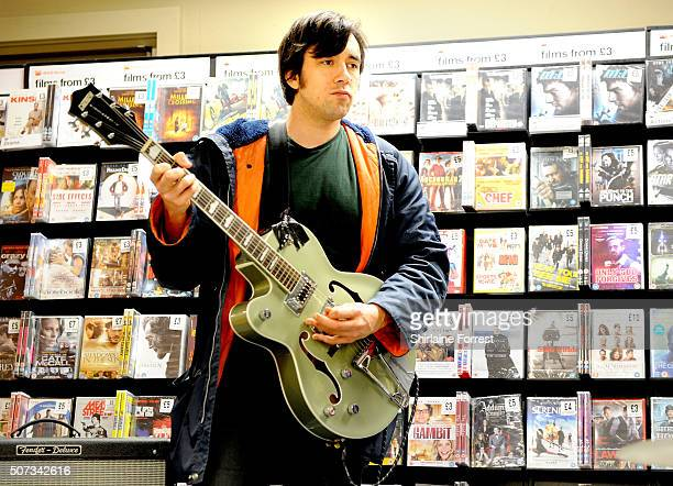 Adam Beach of Younghusband performs live and signs copies of their new album 'Dissolver' at Fopp on January 28 2016 in Manchester England