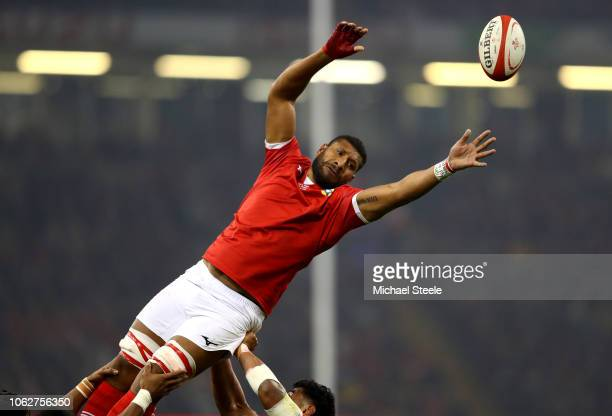 Adam Beard of Wales reaches for the lineout ball during the International Friendly match between Wales and Tonga at Principality Stadium on November...