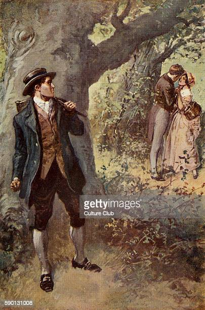 Adam Bede by George Eliot Illustrations by Gordon Browne Adam Bede discovers Arthur Donnithorne and Hetty Sorrel together Caption reads 'His eyes...
