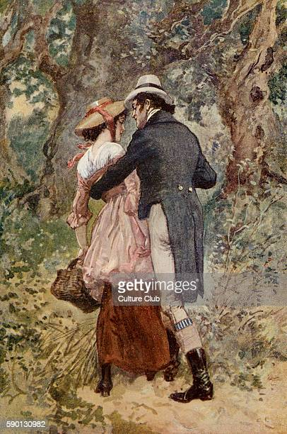 Adam Bede by George Eliot Illustrations by Gordon Browne Arthur Donnithorne and Hetty Sorrel Caption reads 'She felt his arm steal round her' GE was...