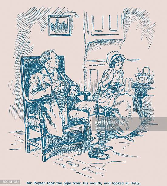 Adam Bede by George Eliot Mr Poyser and Hetty Sorrell 'Mr Poyser took the pipe from his mouth and looked at Hetty' Illustrations by Gordon Browne GE...