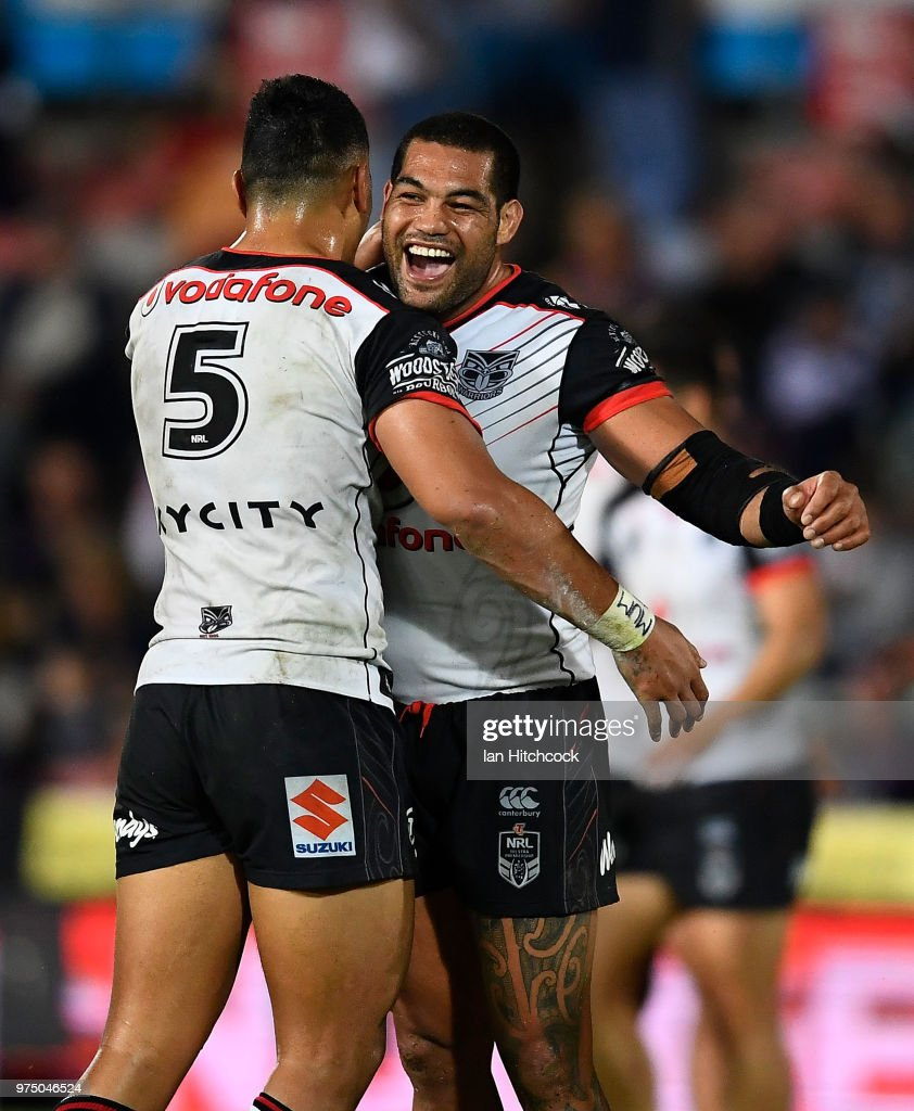 Adam Blair and Ken Maumalo of the Warriors celebrate after winning the round 15 NRL match between the North Queensland Cowboys and the New Zealand Warriors at 1300SMILES Stadium on June 15, 2018 in Townsville, Australia.