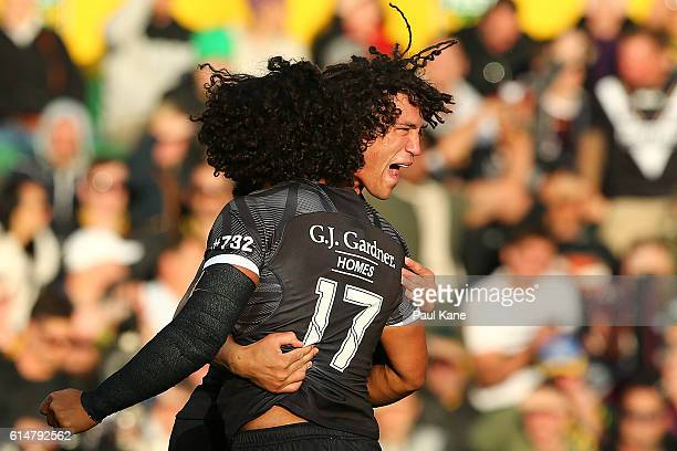 Adam Blair and Kevin Proctor of New Zealand celebrate a try during the International Rugby League Test match between the Australian Kangaroos and the...
